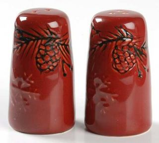 North Pole Trading Co. Pine Retreat Red Salt & Pepper Set, Fine China Dinnerware