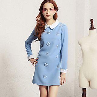 Lishang Womens Cute Doll Collar Solid Color Long Sleeve Dress(Blue)