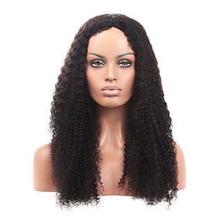 20Inch Brazilian Remy Hair Afro Kinky Curly Middle Part Lace Front Wig