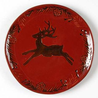 North Pole Trading Co. Pine Retreat Red Salad Plate, Fine China Dinnerware   All