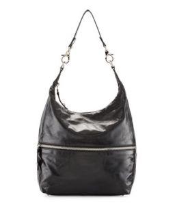 Jude Glossy Tumbled Leather Hobo Bag, Black