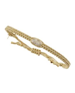 Crystal Studded Barrel Bead Metallic Cord Bracelet, Gold