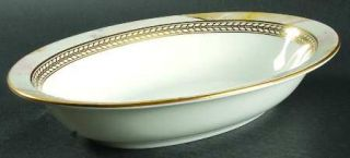Minton Alabaster & Gold 10 Oval Vegetable Bowl, Fine China Dinnerware   Gold La