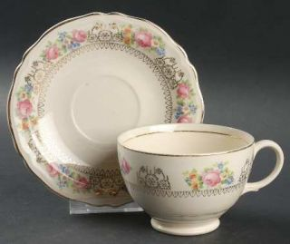 Edwin Knowles 331e1 Footed Cup & Saucer Set, Fine China Dinnerware   Small Flora