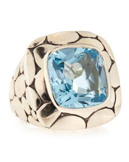 Silver Batu Kali Blue Topaz Large Square Ring, Size 6